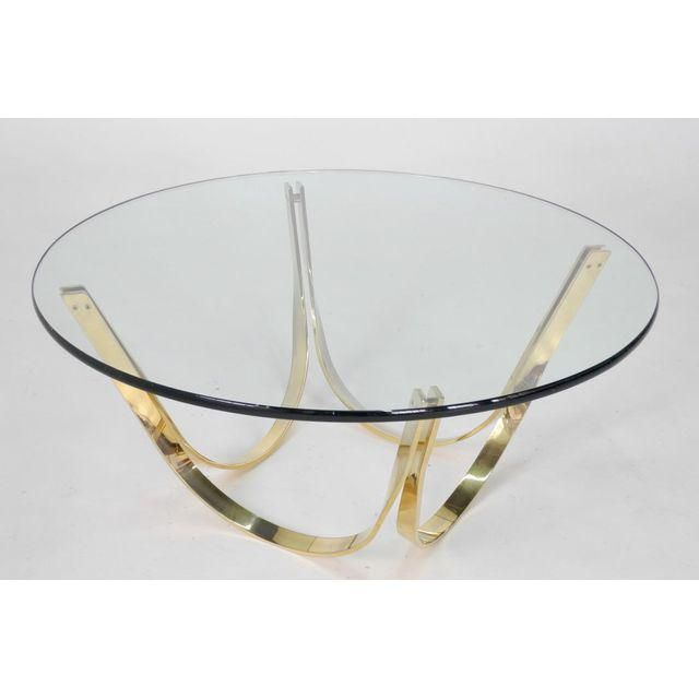 1970s Roger Sprunger for Dunbar Brass and Glass Coffee Table - Image 4 of 5