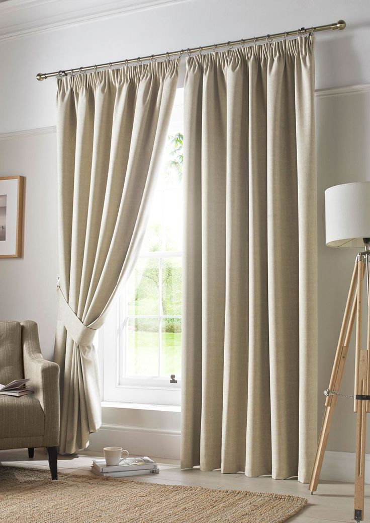 Darwin Blackout Linen Pencil Pleat - Beige curtains with a plain texture, easy to combine with many colour palettes.
