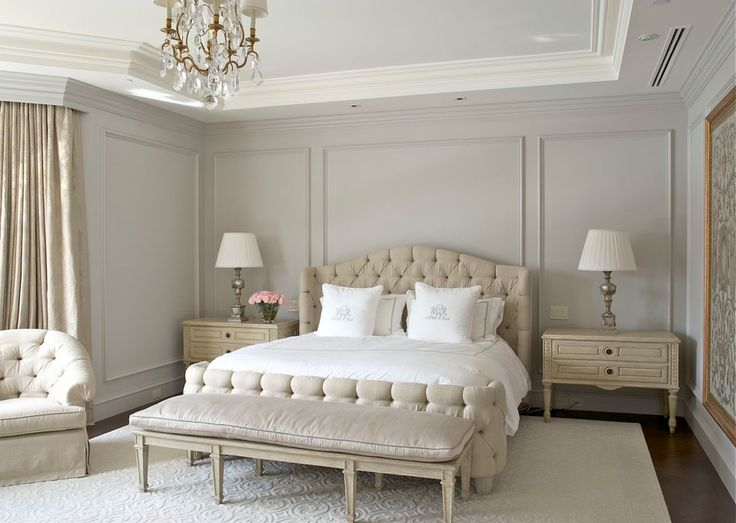 Light grey walls in the bedroom look elegant, sophisticated, and glamorous.