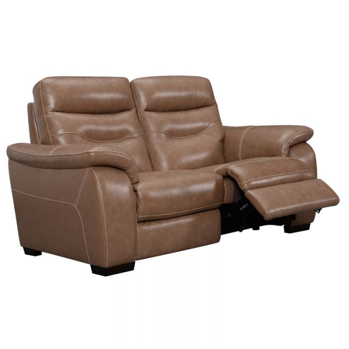 Atollo Tan Top Grain Leather Power Loveseat Leather Reclining Loveseat Love Seat Traditional Family Rooms
