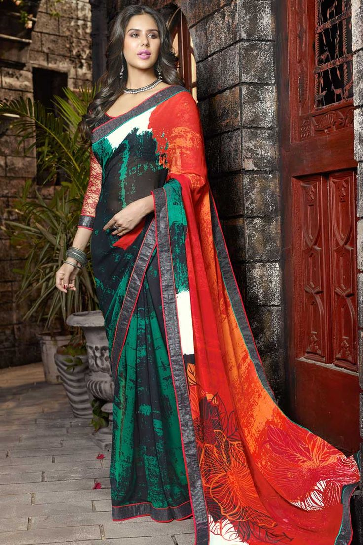 #AndaazFashion Maroon Black Green Georgette Saree with Art Silk Russal Net Blouse   http://www.andaazfashion.co.uk/womens/sarees/maroon-black-green-saree-art-silk-russal-net-dmv8557.html