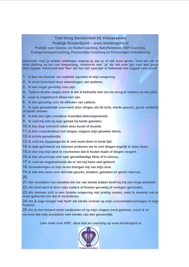 Test Hoog Sensitiviteit bij volwassenen (HSP) - door Praktijk KinderSpirit Praktijk KinderSpirit Praktijk voor Gezins– en KinderCoaching,