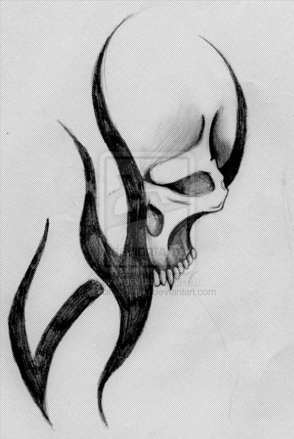 tribal skull drawings