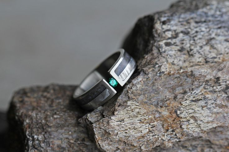 Meteorite and Dinosaur Bone Ring with Tension Set Emerald https://jewelrybyjohan.com/shop/meteorite-tension-set-emerald-ring-2168-2/