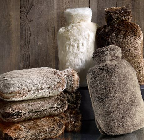 Luxe Faux Fur Hot Water Bottle-think these look so warm--but i want to fill them with microwavable rice instead as it heats better and longer