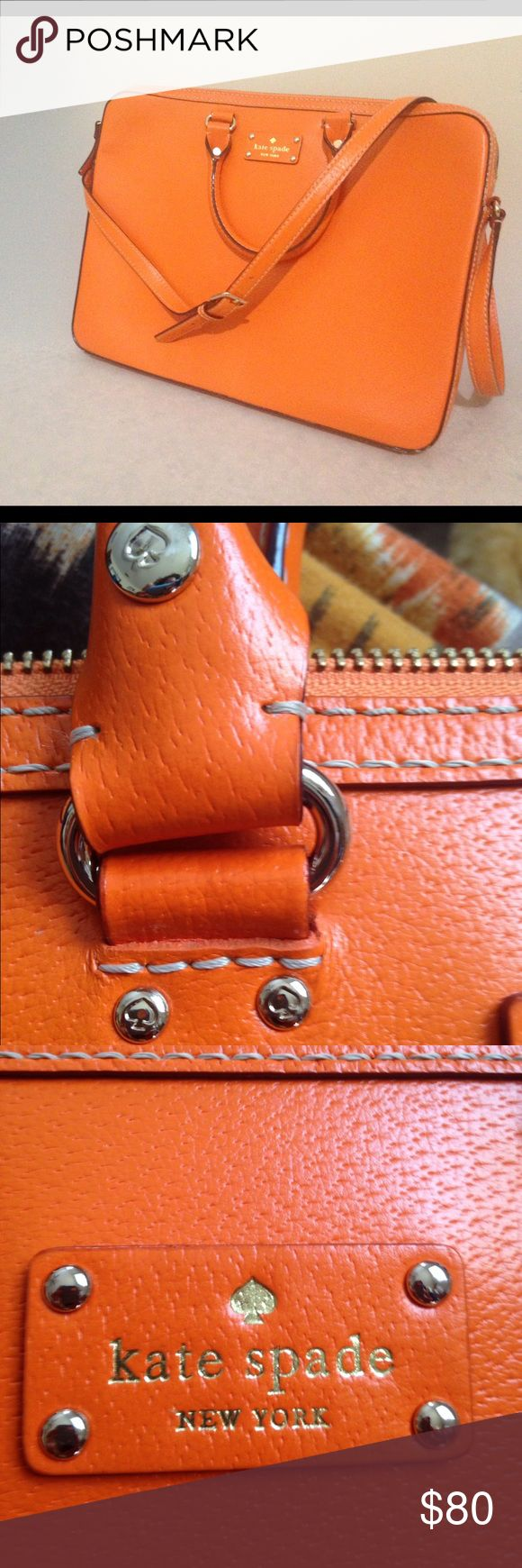 Kate spade lap top cross body carrying case. 12x16 Kate spade orange laptop carrying case with adjustable strap and padded sides. There is little wear show. Bearly noticeable spots on the back of the bag and tiny stain inside. See pic. kate spade Bags Laptop Bags