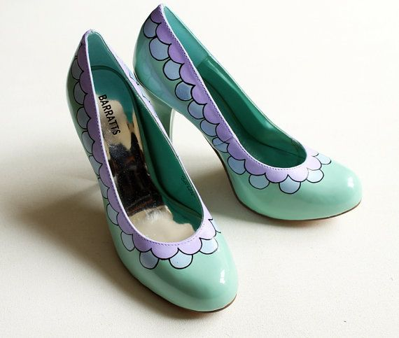 Hand painted Heels  Scalloped Pastel Lilac and Blue by kezbirdie
