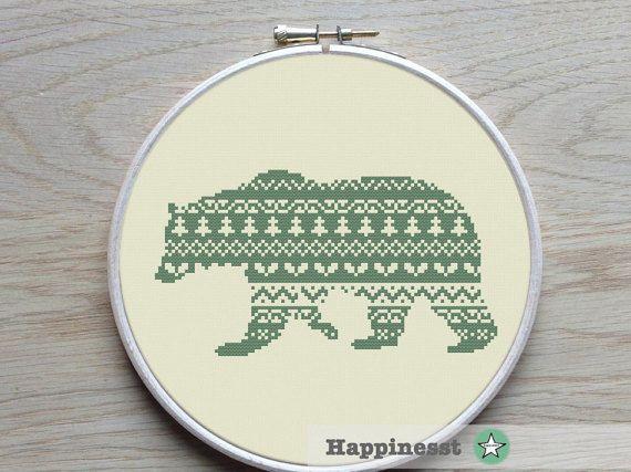 cross stitch pattern nordic bear Scandinavian modern by Happinesst