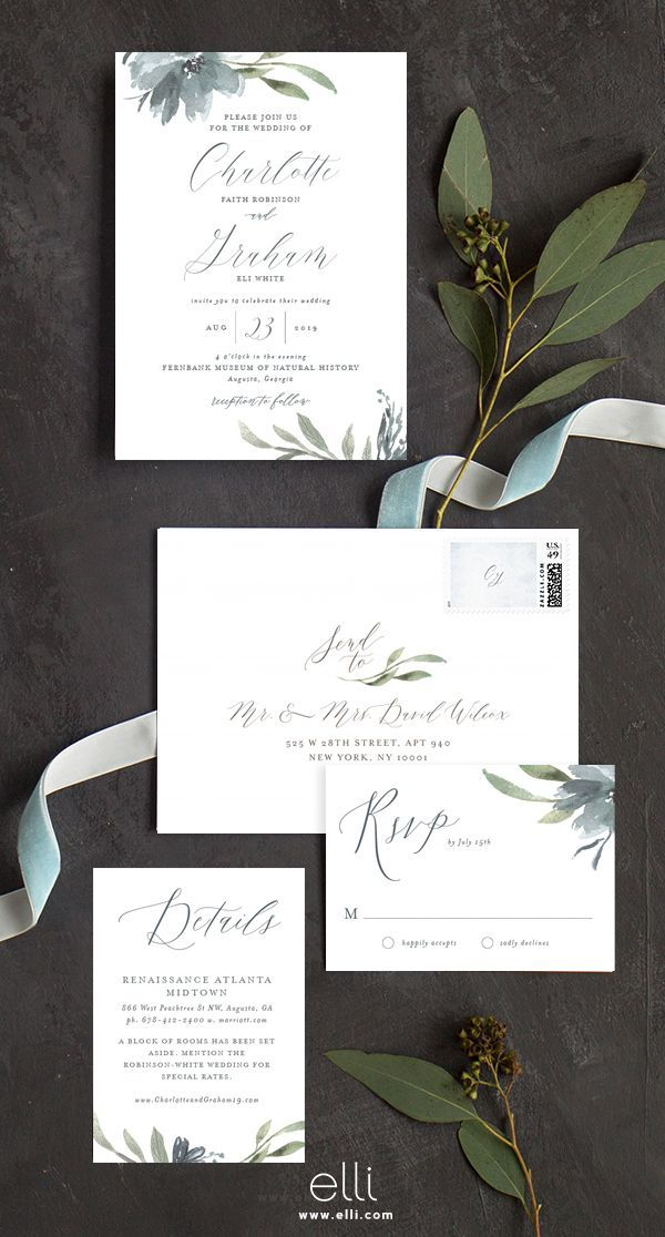 wedding invitations atlanta%0A The perfect fall wedding invitation with dusty blue florals and greenery
