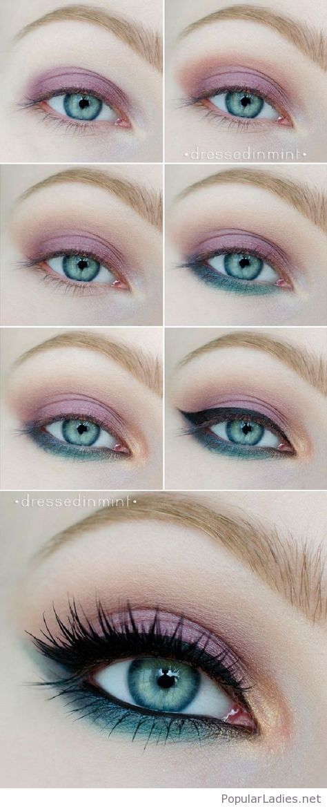 Pink and green eye makeup tutorial