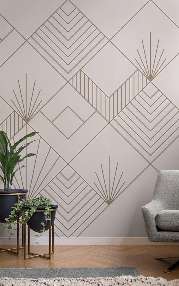 Zelda Art Deco Wallpaper Mural Murals Wallpaper Tape Wall Art Geometric Wall Paint Diy Wall Painting