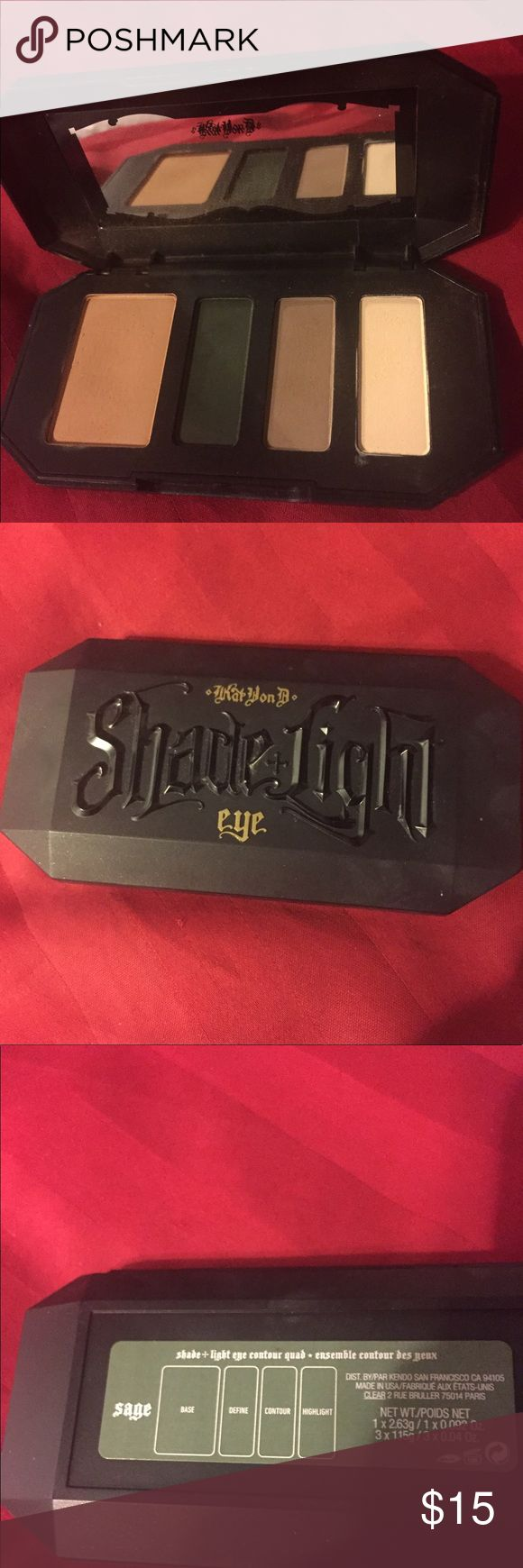 Kat Von D shade and light eye contour quad in sage Used once. No box. Bought from sephora Kat Von D Makeup Eyeshadow