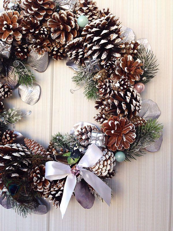 """Купить Новогодний венок """"Морозный"""" - Новый Год, шишки, новогодний сувенир, венок, венок из шишек"""