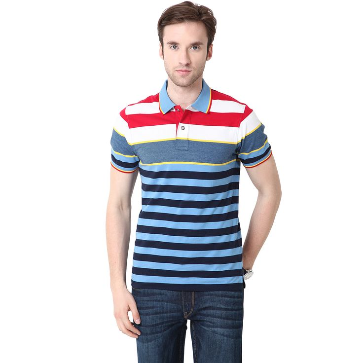 Royal and Navy Blue, Yellow, White and Red Striped MUDO Polo Shirt. Polo T  ShirtsMen's ...