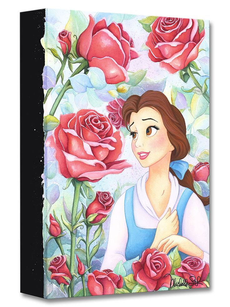 Beauty and the Beast - Garden of Roses - Belle - Gallery Wrapped - Michelle St. Laurent - World-Wide-Art.com - #disney #michellestlaurent #disneytreasuresoncanvas #gallerywrapped #beautyandthebeast