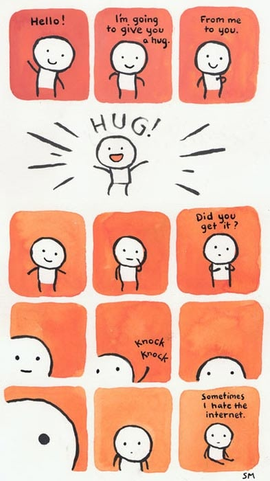 Hug Denied #comic: Knockknock, Free Hug, Real Life, The Real, Quote, Long Distance, Design Bags, Knock Knock, Faraway