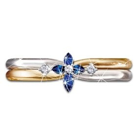 The Trinity Sapphire And Diamond Cross Women's Ring: Engraved Religious Jewelry by The Bradford Exchange
