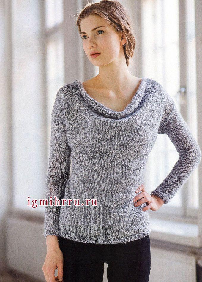 Просто и женственно! Светло-серый пуловер с пайетками. Спицы