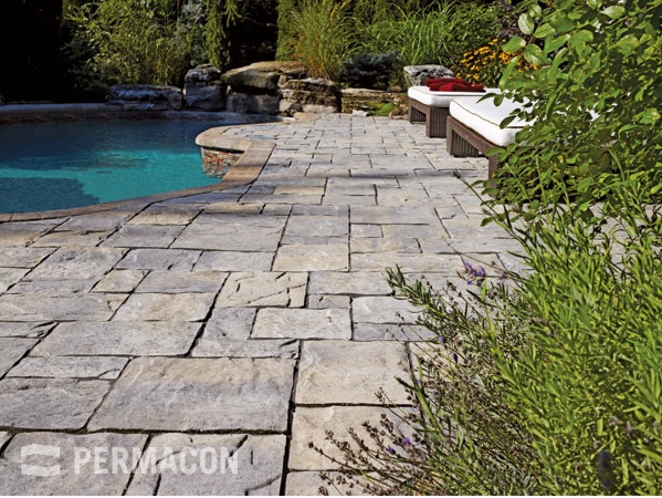 Permacon's Amalfi Pavers.  A unique paver with the sophisticated look of cut flagstone carefully chiseled by master landscapers. With its distinct modular sizes, this innovative product offers the flexibility for many creative opportunities. The Amalfi paver – for  Italian style elegance at an affordable price.