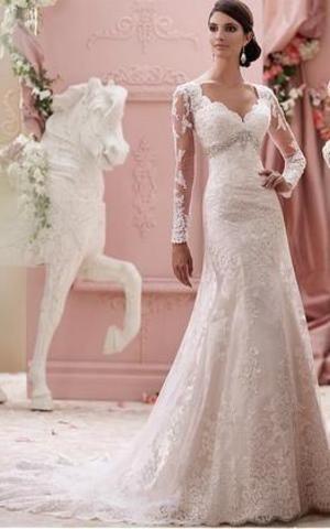 grande immagine 1 Abiti da Sposa V-Scollo con Maniche Lunghe strano Senza Vita in Raso