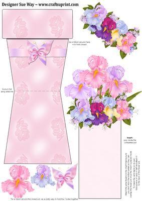 Pretty Flowers Flower Pot Card by Sue Way