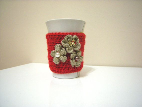 Red Flower Coffee Cozy Coffee Mug Cozy Neutral cup by missismilena, $10.00