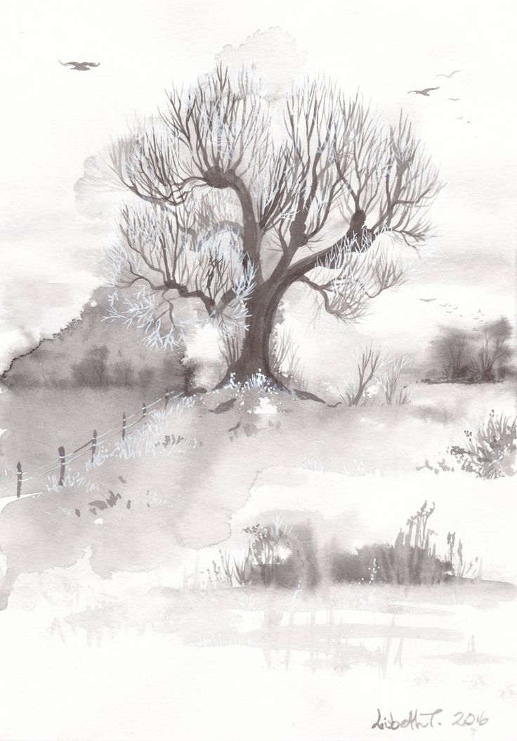 "Original art: ""Winter Linden"". Painted ink on paper, black and white, trees, woodland, magical, mystical, winter, landscape, linden, nordic. by ArtLisbethThygesen on Etsy"