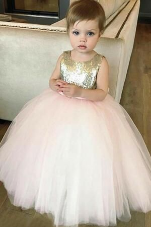 5d4c70e594c Sequin Tulle Flower Girls Dress Ball Gown with Bow Belt