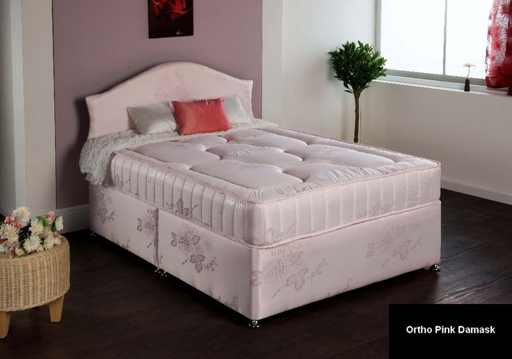 """3ft Royal Pink Ortho Divan - £319.95 - Due to the popularity of this range in the standard lengths we have now made it available in shorter lengths. Very popular for smaller rooms where a full length single bed will not fit.  The mattress is approx 9"""" deep and is upholstered with quilted layers of fillings on both sides. The spring system is an open coil ortho spring unit. A firm and supportive mattress with a well padded surface."""