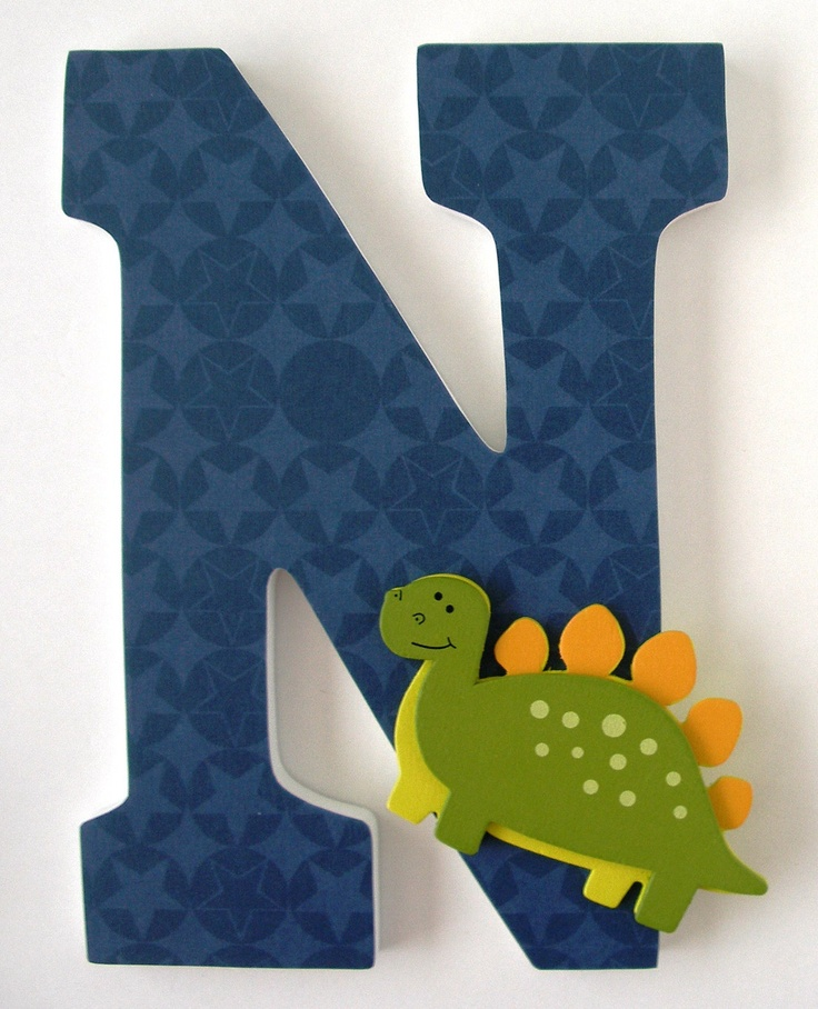 Custom Decorated Wooden Letters DINOSAUR Theme- Nursery Bedroom Home Décor, Wall Decorations, Wood Letters, Personalized