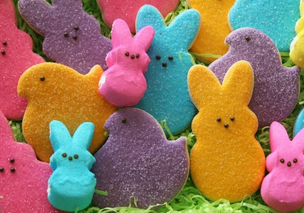 Decorated Peeps Cookies--Pretty Easter cookies that resemble the famous marshmallow Peeps.  Includes link to 20-second icing for cookies.  Peeps cookie cutters are by Wilton.