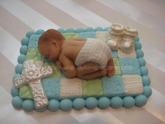 Fondant baby QUILT BLANKET CROSS Cake Topper  Baptism Christening Baby Shower 1st Birthday favors decorations