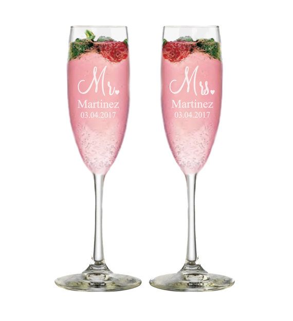 Mr And Mrs Champagne Flutes Couples Gift By APersonalizedWedding