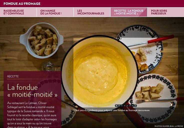 Au restaurant Le Léman, Olivier Schlegel sert la fondue «moitié-moitié typique de la Suisse romande». Il nous fournit ici la recette classique, qu'on aura tout le loisir d'adapter selon les fromages qu'on a sous la main ou qu'o