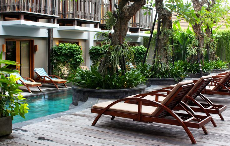 Day beds by the lagoon pool.