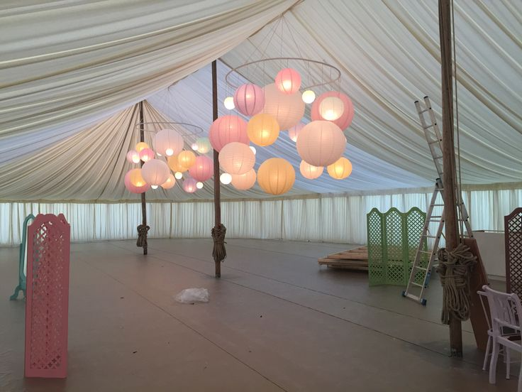 Paper lanterns with a twist, Paper lantern chandeliers at Goodwood