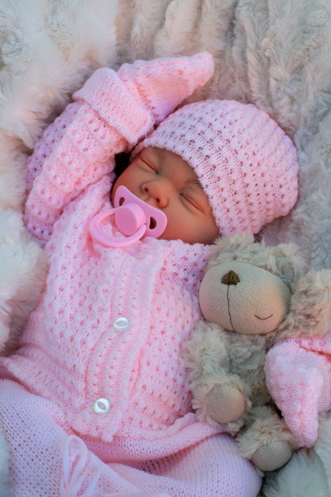 STUNNING REBORN LIFELIKE BABY GIRL IN SPANISH KNITTED SET FULL LIMBS 016 #BUTTERFLYBABIES