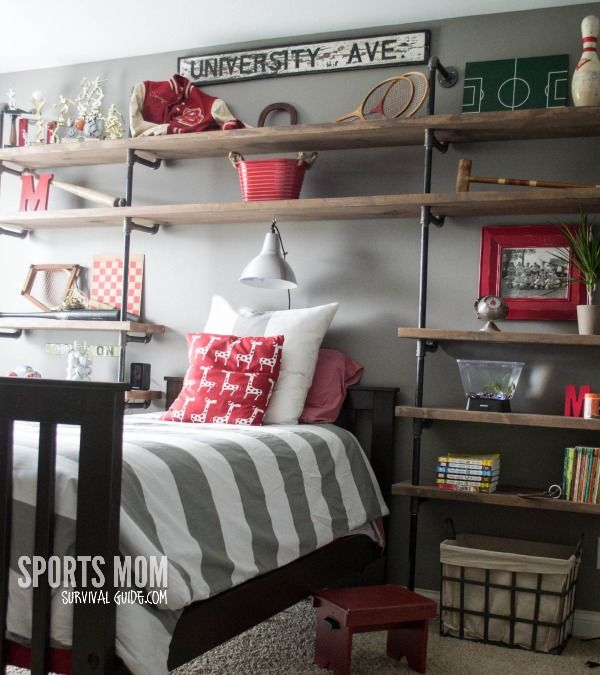A great way to decorate your boy's room - Vintage Sports Theme Kid's Room with DIY industrial shelves. Just like Restoration hardware at a fraction of the cost.