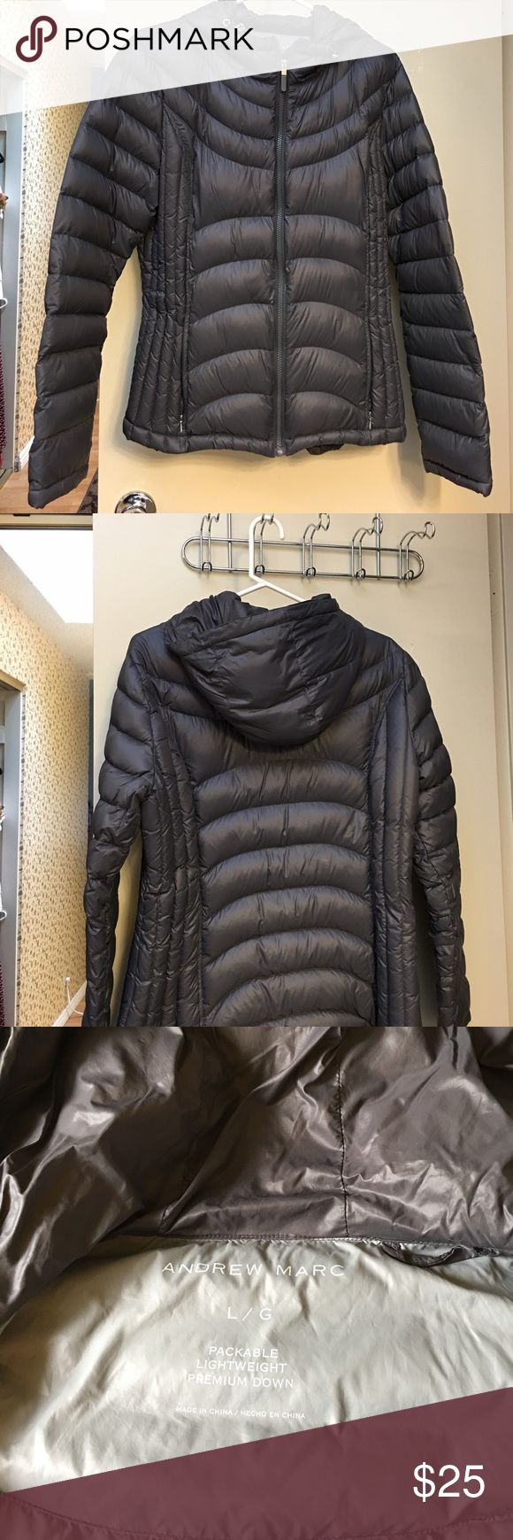 Andrew Marc hooded packable down jacket Andrew Marc hooded packable lightweight down jacket, worn a couple times, almost new condition, grey color Andrew Marc Jackets & Coats Puffers