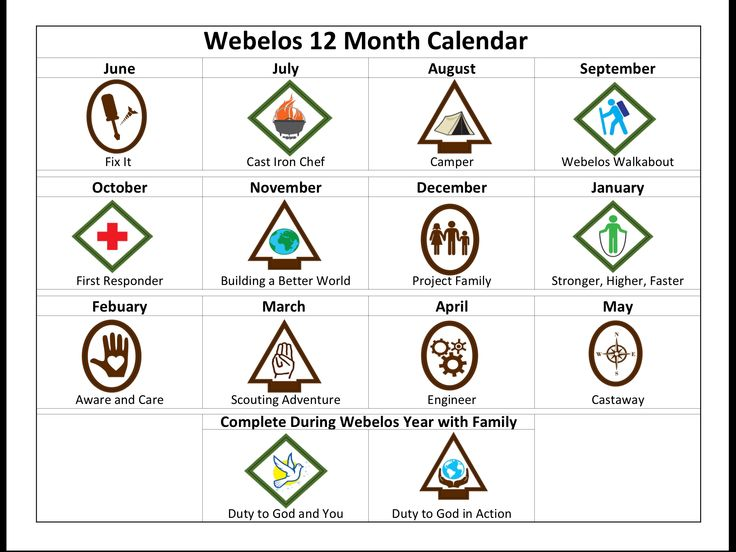 New Cub Scouts--12 month calendar we created for our lds Webelos den. All Arrow of Light and Webelos requirements met!