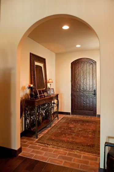 Foyer Door Color : Mediterranean entryway foyer with warm
