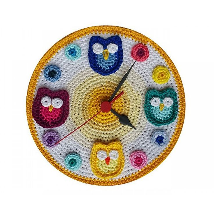Crocheted Clock with Owls