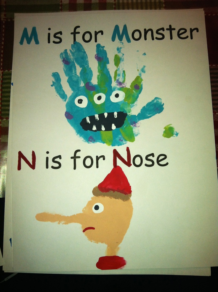 m is for monster, n is for nose, handprint - calendar page (pinocchio is the palm and pinky only)  This is great! make all of the pages, do the finger or footprint art, bind all the pages together and you have an alphabet book they made all by themselves!