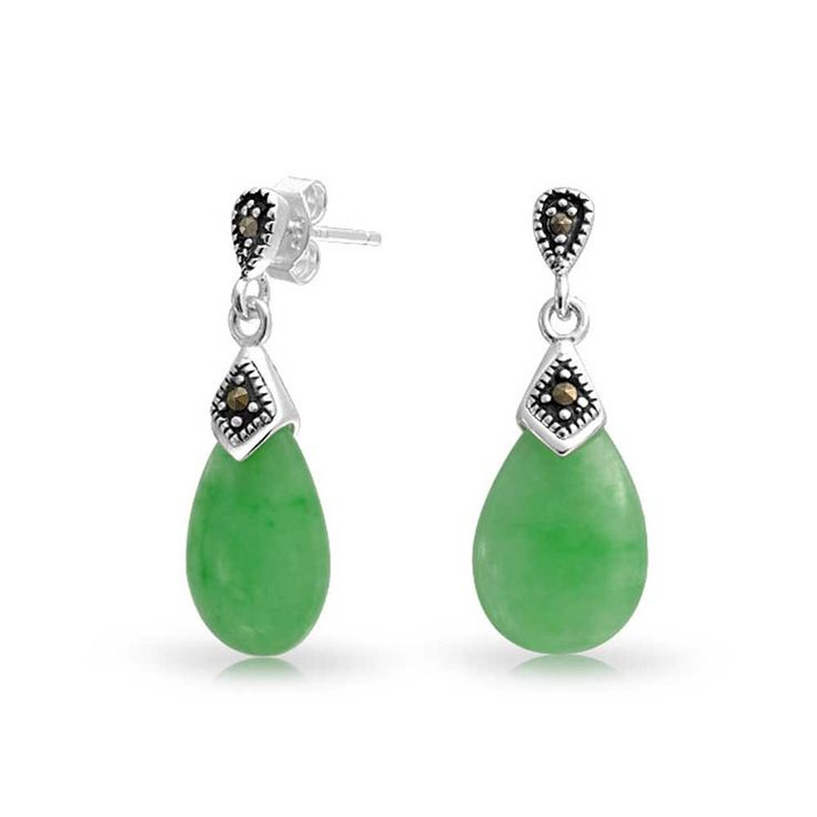 Bling Jewelry 925 Silver Green Jade Teardrop Dangle Earrings Marcasite: