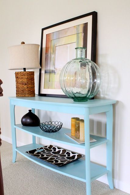 my entry table: Entry Tables, Console Table, House Ideas, Painted Tables, Accent Table, Blue Table, Turquoise Table, Diy Projects