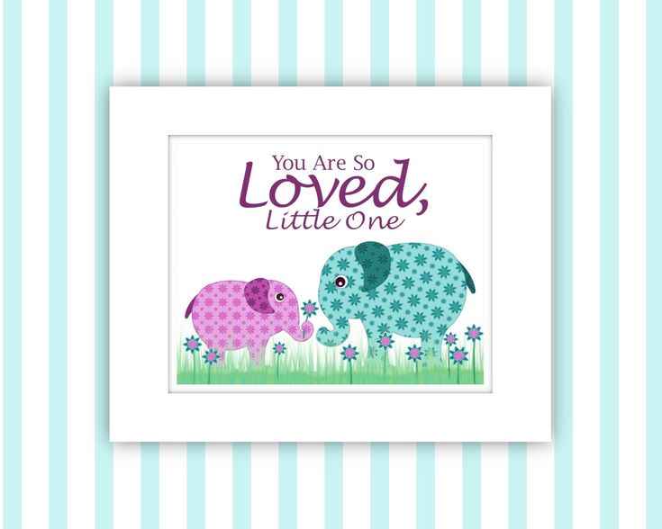 Cute Pink Baby Elephant Giving Flower to Mom, 8 x 10 Art Printable by LoreneTroy… – Cute, Fun Animals and Birds