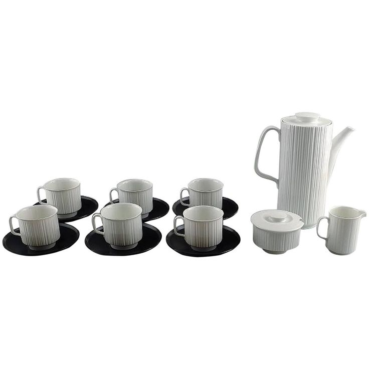 T. Wirkkala for Rosenthal Studio-Line Porcelaine Noire Six Person Coffee Service | See more antique and modern Tableware at https://www.1stdibs.com/furniture/dining-entertaining/tableware