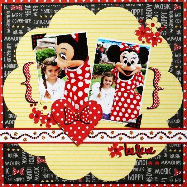 minnie mouse scrapbook layoutDisney Layouts, Polka Dots, Disney Scrapbook Layout, Scrapbook Disney, Disney Ideas, Disney Scrapbook Pages, Minnie Layout, Greta Hammond, Minnie Mouse