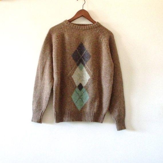 377.75 kr. McGREGOR Argyle Mens Sweater Heather Brown  by Vintagedustshop