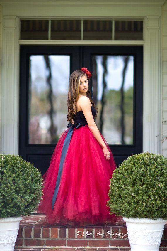 red dress red tutu long tutu skirt sewn tutus Wide by MirelaOlariu, $195.00 Next year X mas